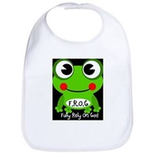 Cute Cartoon Frog Fully Rely On God F.R.O.G. Bib