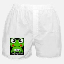 Cute Cartoon Frog Fully Rely On God F.R.O.G. Boxer