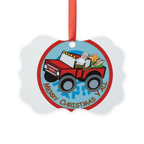 Country Santa Picture Ornament