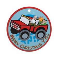 Country Santa Ornament (Round)