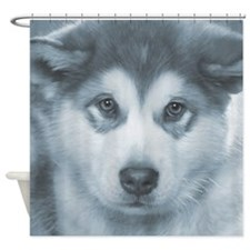 Husky Puppy Face Shower Curtain