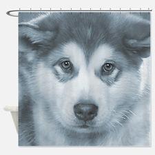 Husky Puppy Face Shower Curtain