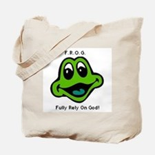 F.R.O.G. Fully Rely On God Frog Face Tote Bag
