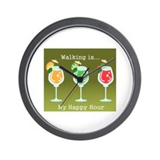 Walking is My Happy Hour (color) Wall Clock