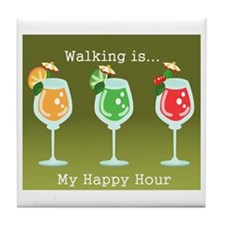 Walking is My Happy Hour (color) Tile Coaster