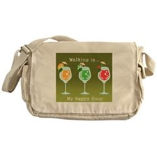 Walking is My Happy Hour (color) Messenger Bag