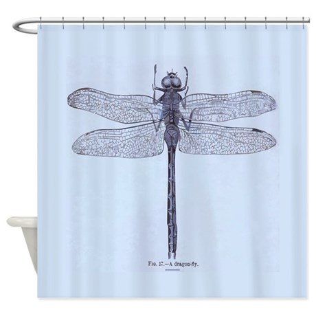 Vintage Dragonfly Blue Shower Curtain By Rebeccakorpita