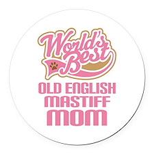 Old English Mastiff Mom Round Car Magnet