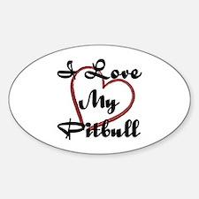 I Love My Pitbull Sticker (Oval)