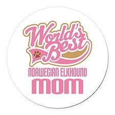 Norwegian Elkhound Mom Round Car Magnet