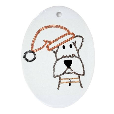 xmas dog.jpg Ornament (Oval)