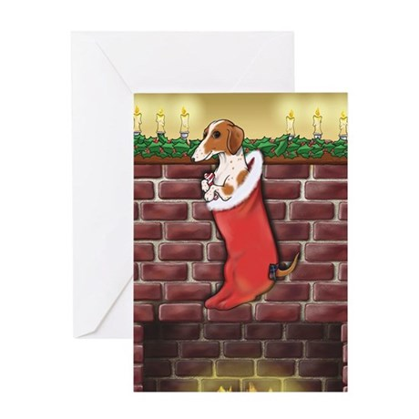 Piebald Dachshund Stocking Greeting Card