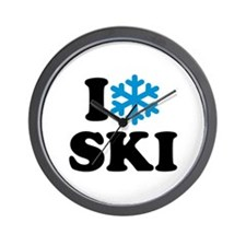 I love Ski Wall Clock