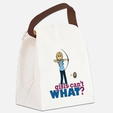 Archery Girl in Blue - Blonde Canvas Lunch Bag