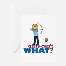 Archery Girl in Blue - Blonde Greeting Card