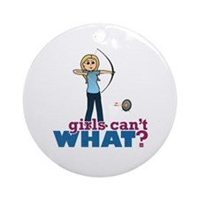 Archery Girl in Blue - Blonde Ornament (Round)