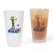 Camouflage Archery Girl - Blonde Drinking Glass