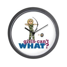 Camouflage Archery Girl - Blonde Wall Clock