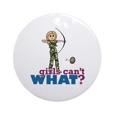 Camouflage Archery Girl - Blonde Ornament (Round)