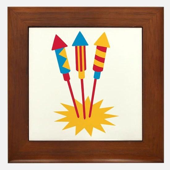 Fireworks rocket Framed Tile