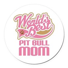 Pit Bull Mom Round Car Magnet
