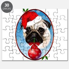 A Very Merry Christmas Pug Oval Puzzle