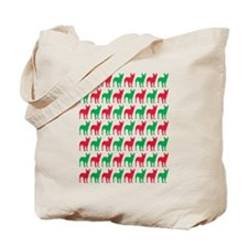 Bull Terrier Christmas or Holiday Silhouettes Tote
