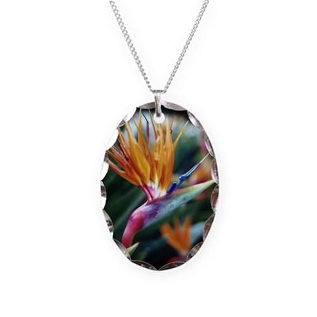 Bird of Paradise Necklace Oval Charm