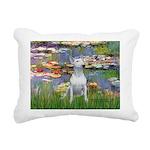 Lilies2-Bull Terrier (P) Rectangular Canvas Pillow