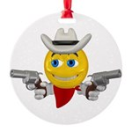 Cowboy Smiley Face Round Ornament
