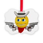 Cowboy Smiley Face Picture Ornament