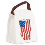 American Flag Long May it Wav Canvas Lunch Bag
