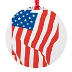 American Flag Long May it Wav Round Ornament
