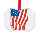 American Flag Long May it Wav Picture Ornament