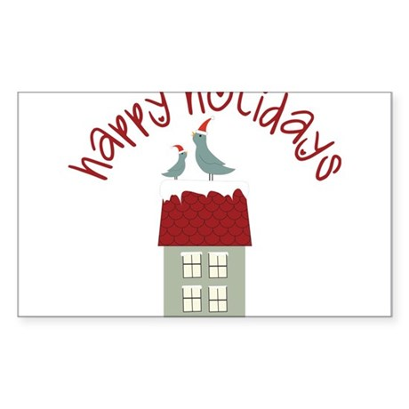 Happy Holidays Sticker (Rectangle)