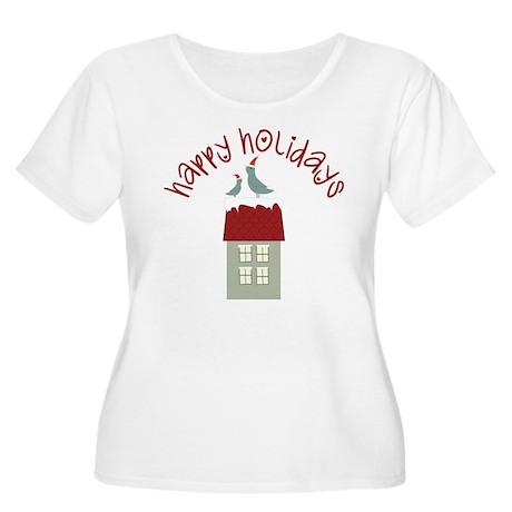 Happy Holidays Women's Plus Size Scoop Neck T-Shir