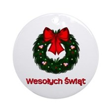 Merry Christmas Wreath Ornament (Round)