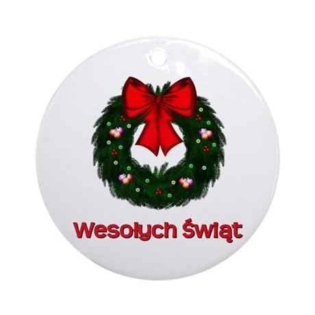 Merry Christmas Wreath Ornament (Round)