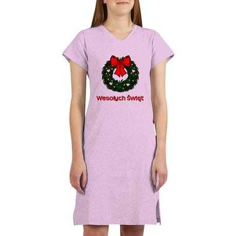 Merry Christmas Wreath Women's Nightshirt