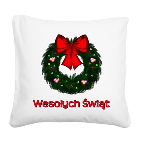 Merry Christmas Wreath Square Canvas Pillow