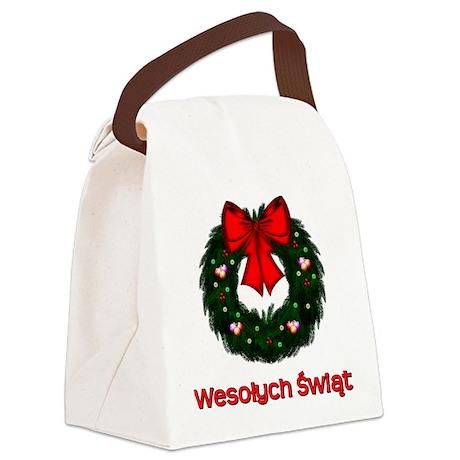 Merry Christmas Wreath Canvas Lunch Bag