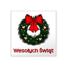 "Merry Christmas Wreath Square Sticker 3"" x 3&"