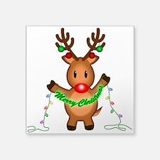 "Merry Deer Square Sticker 3"" x 3"""