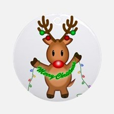Merry Deer Ornament (Round)
