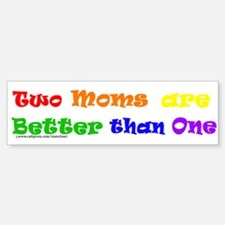 Two Moms Bumper Car Car Sticker