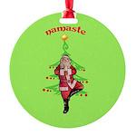 Santa Tree Pose Round Ornament