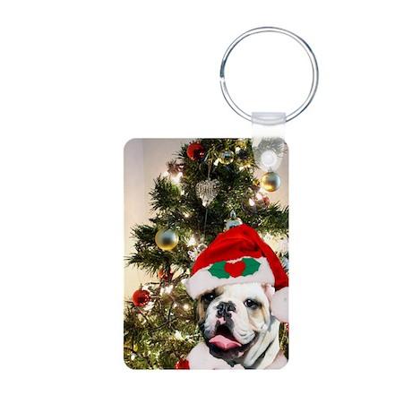 Christmas bulldog Aluminum Photo Keychain