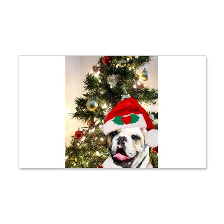 Christmas bulldog 20x12 Wall Decal