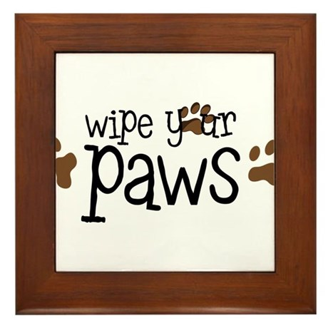 Wipe Your Paws Framed Tile