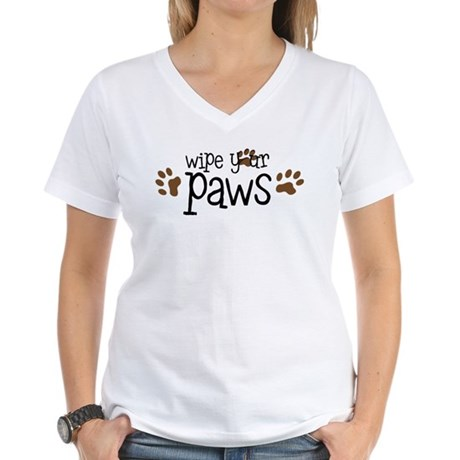 Wipe Your Paws Women's V-Neck T-Shirt